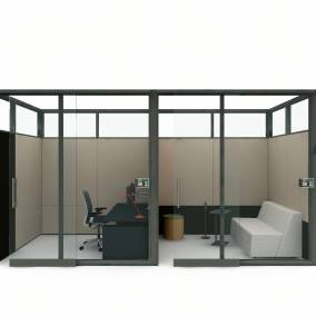 rendering of a meeting space with VIA glass walls, think chair, lagunitas personal table and campfire lounge