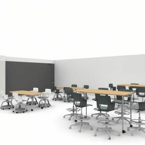 rendering of a classroom with verb tables, shortcut stools, Motif and Flow boards