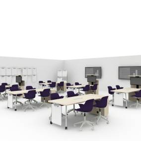 Node Chair, Verb Active Media Table, Verb Whiteboard, Verb Easelx, Verb Wall Track Footprint: