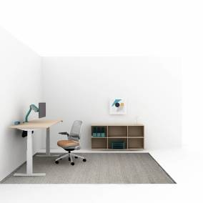 rendering of a private room with Bivi height-adjustable desk, Series 1 chair, art on the wall, FYI monitor