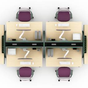 rendering of a work space with height-adjustable Bivi desk, Series 1 office chairs, soto worktools,