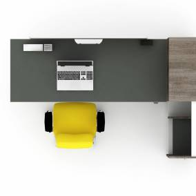render of a single work space with bivi height adjustable desk, soto worktools, think chair and high density storage