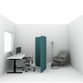 Migration SE Desk, Universal Mobile Pedestal, Volley Monitor Arms, BODI Task Chair, Steelcase Flex Collection, Brody Footrest, FLOS Captain Flint, Blu Dot Field Lounge Chair Planning Idea