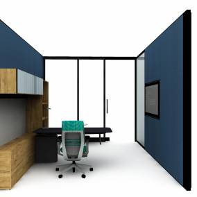 floorplan view of a private office with mackinac desk, elective elements sotrage, gesture chair