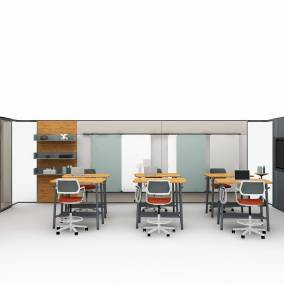 on white rendering of a meeting space with products such as: Steelcase Lite Scale Steelcase V.I.A. Steelcase Flex Collection Steelcase Qivi Stool Steelcase EE Open Shelf Steelcase SOTO Worktools Benjamin Maier Ceramics Mitchell Gold + Bob Williams Jack Sculpture