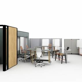on white render of a meeting space