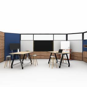 on white render of a meeting space with products such as: Steelcase Roam Mobile Stand Steelcase V.I.A. Steelcase Flex Collection Steelcase EE Storage Coalesse Davos Bench Coalesse Enea Stool Smith System Planner Studio Table