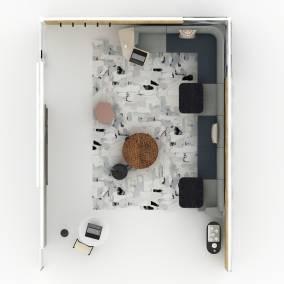 Steelcase, V.I.A. Microsoft Roam Mobile Coalesse, Lagunitas table Orangebox, Away from the desk modular sofa Bolia, Posea side table Uhuru, Stoolen table Blu Dot, Skiff Outdoor table, Eskayel, Medina Rug