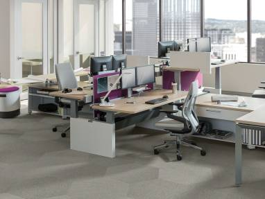 work are with Gesture chairs, wooden desks, CF series dual monitors, purple privacy screens.