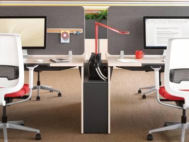 Divisio Frameless Screen and Frame Four desks