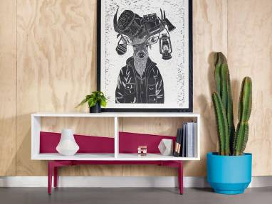 A Bassline Credenza with bright pink legs and back panels placed against a wall by a picture and a cactus