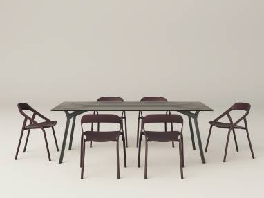 Six LessThanFive chairs and iron table