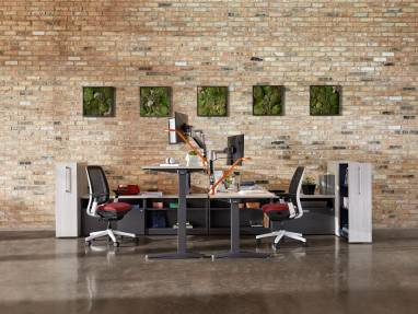 Two workstations with Ology height adjustable desks, Amia Air desk chairs, Currency storage, and Dash Mini desk lamps