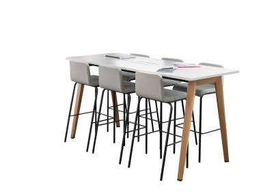 B-Free table and high stools on white