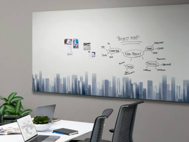 PolyVision a3 CeramicSteel Sans in a meeting room