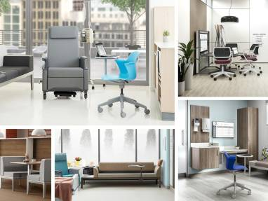 Collage of photos showing Steelcase products in healthcare environments, including Node 5-Star base chairs and Qivi chairs