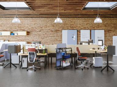 Steelcase Flex Collection products used to create workstations for a group of people
