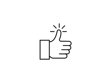 "Digital black and white line drawing of a ""thumbs up."""