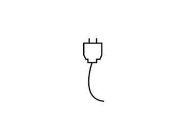 Digital black and white line drawing of a wall outlet.