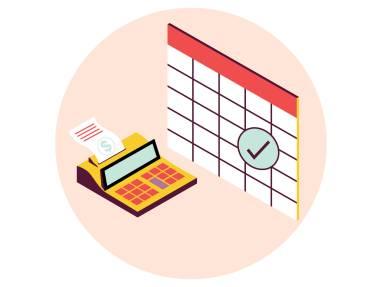Digital graphic of a calendar and a calculator.