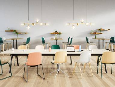 Workcafe environment with Cavatina chairs, Montara650, Potrero415, Bolia Lean, Bolia Orb