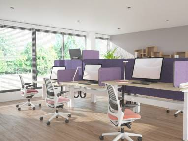Work stations with purple Divisio screens and pink office chairs