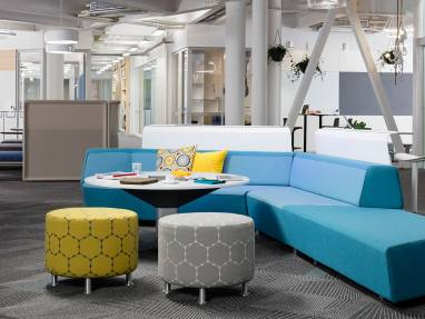 media:scape Lounge, media:scape Table, Alight Round Ottoman, Enea Café Post Stool, Coalessse Lagunitas, Joyea, Customer Case Study