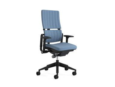 Please task chair with signature stitching on white background
