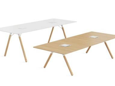 Two Potrero table in white and in oak
