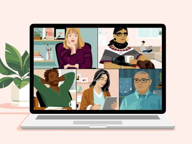 illustration of a virtual meeting with 5 people in it