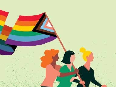 illustration of 3 women holding a LGBTQ flag