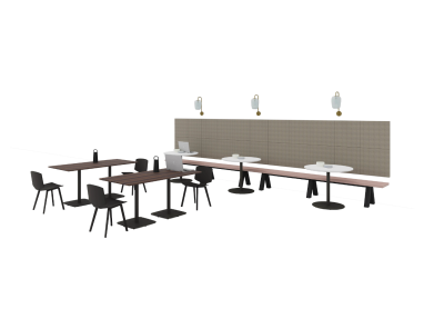 Social space with Grape Series, Truchet Acoustic Tiles, Valby Dining Chair, Montara650 Table and PowerPod