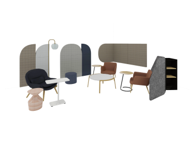 Social space with Truchet Acoustic Tiles, Steelcase Flex Collection and Bolia tables and chairs