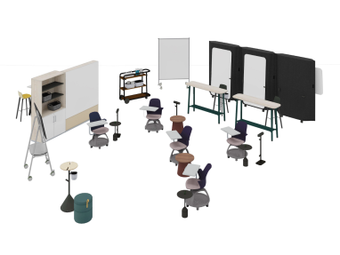 Learning space with Steelcase Roam Collection, Grab Pouf, Steelcase Flex Collection, Share It Collection, Mobile Elements Pin-Board, B-Free Desk and Node chairs