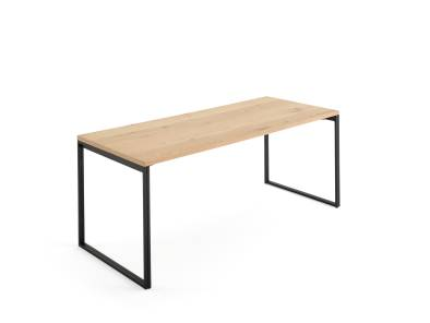 West Elm Work Greenpoint Private Office with light wood top and black legs on white background