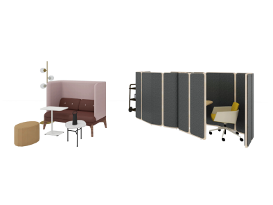 Personal space with Marien152 Seating, Coppice, Coze, Pod Coffee Table, Zyl Pouf, Steelcase Flex Collection, Orb Series and Lagunitas Personal Table
