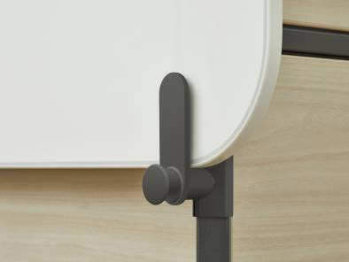 Close up of board clips on Steelcase Flex Active Frames