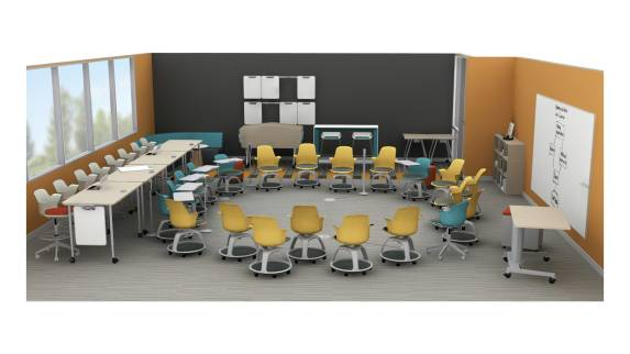 Steelcase Node tripod base chairs are arranged in a circle in a classroom setting. Verb Active Media Tables with Shortcut 5-Star Base chairs in stool height are seen nearby. Scoop stools and a Campfire Slim Table are also seen.