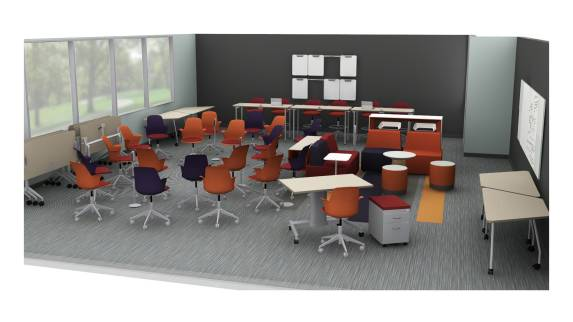 Steelcase products are used in a classroom setting, including a Airtouch desk, Turnstone Buoy seating, Campfire Paper Tables, and Node 5-Star base chairs