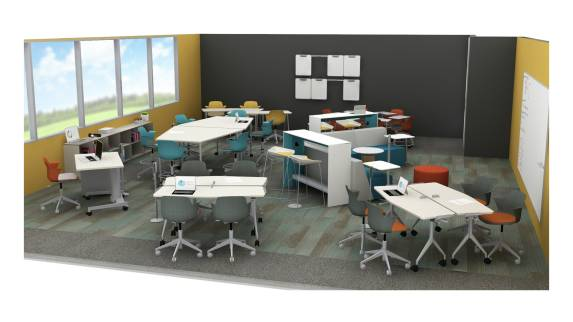 A classroom environment features a variety of Steelcase products, including Node 5-star base chairs, Scoop stools, Verb tables, and Campfire Slim tables