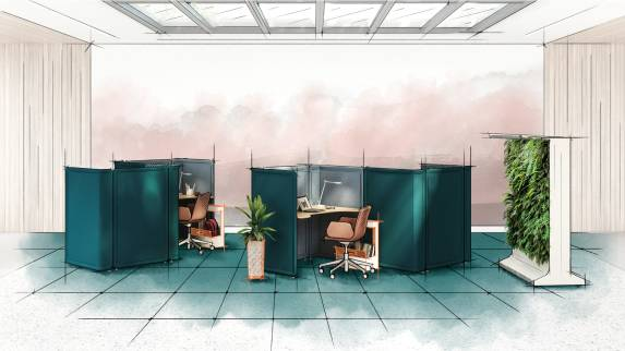 Digital color sketch of open workspace with Lagunitas focus nooks with sagegreenlife.