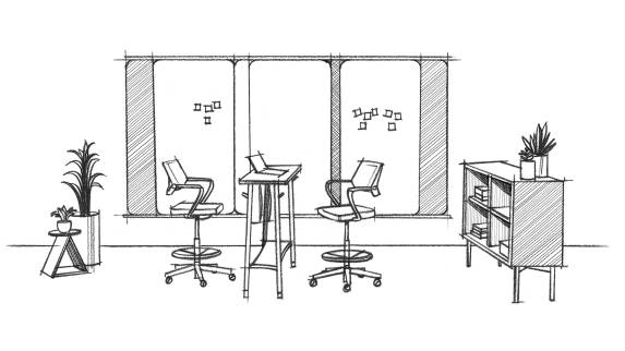 Sketch of a Steelcase Flex space including Flex Markerboards, Flex tables and QiVi.