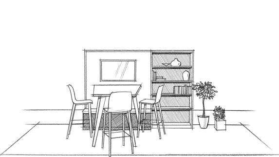 SketchUp in black in white for table with three chairs