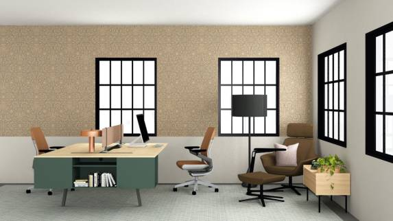 Large home office with Bivi two-persons desk with gesture task chairs and bob lounge chair