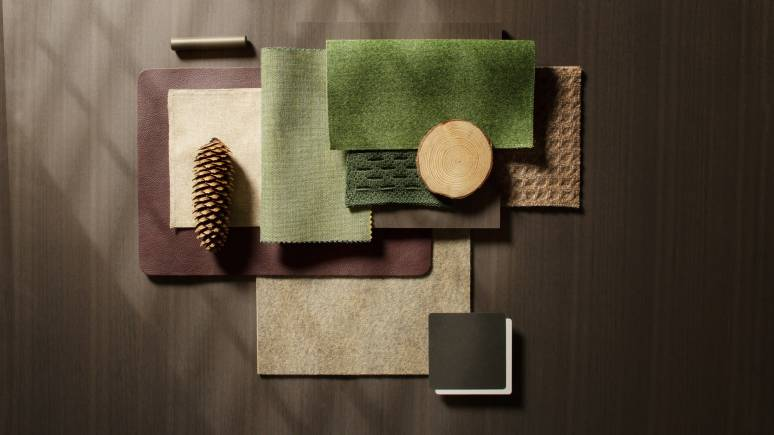 green and nudes fabrics
