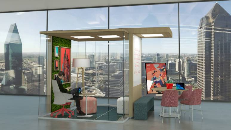 A rendering shows a person sitting in a Coalesse Massaud conference chair in a private office enclave with glass walls