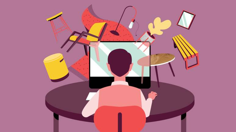 Digital graphic of a designer exploring furniture options.