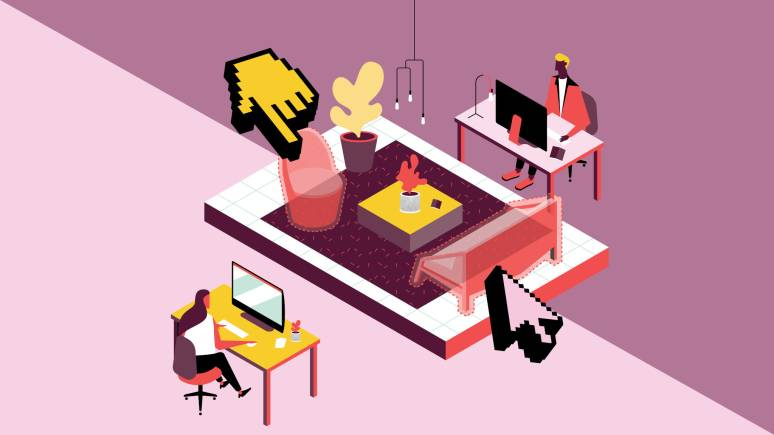 Digital graphic that shows a virtual representation of two designers adding furniture to a space.