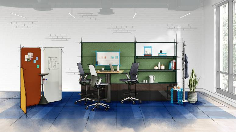 Ditical color sketch of a workstation furnitured with Mackinac, SILQ stools, and Steelcase Flex Markerboards.