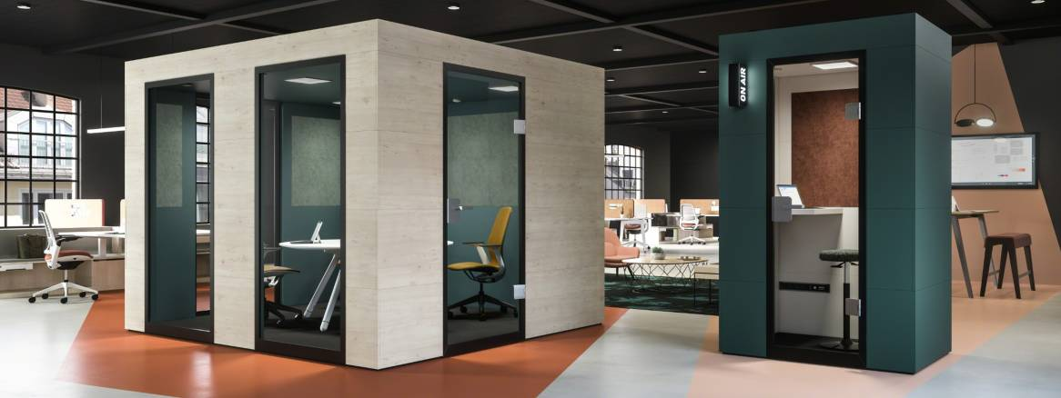A complete plug-and-play system, Officebricks Acoustic Pods offers top-level sound insulation in an inviting atmosphere